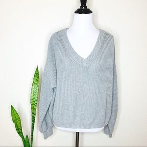 BP Gray V Neck Ballon Sleeve Gray Sweater